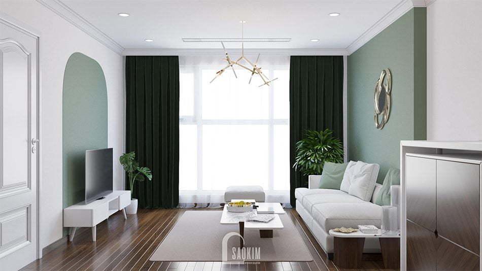 Mẫu thiết kế thi công nội thất phòng khách căn hộ chung cư Sunshine Garden 85m2