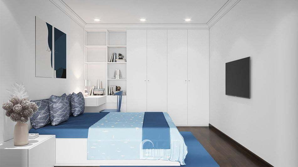 Không gian phòng ngủ 3 dịu nhẹ, nhã nhặn nhờ sự kết hợp hài hòa các màu sắc