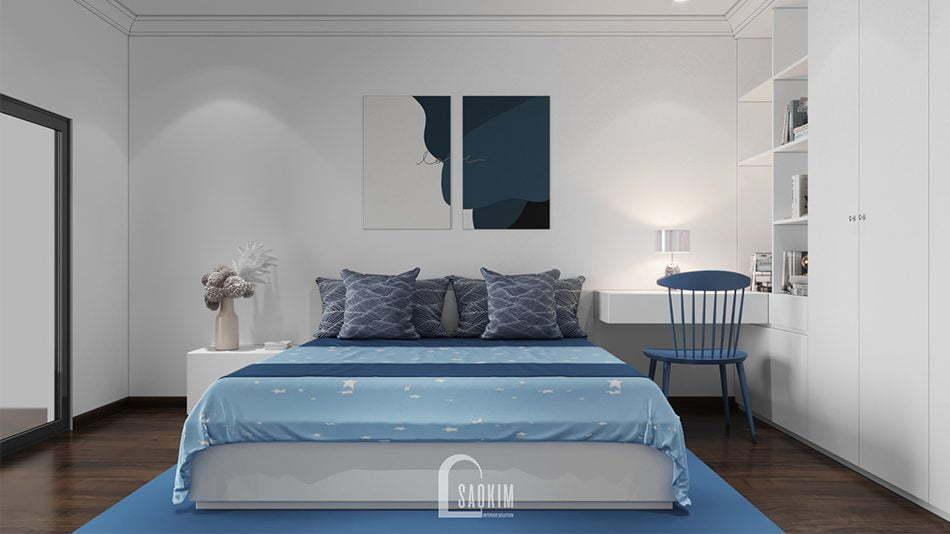 Mẫu thiết kế thi công nội thất phòng ngủ 3 căn hộ chung cư Sunshine Garden 85m2