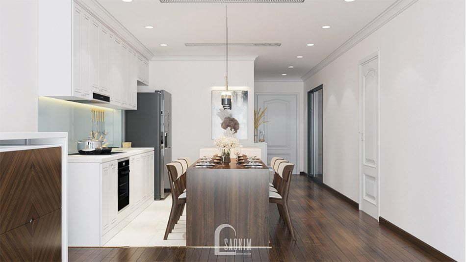 Mẫu thiết kế thi công nội thất phòng ăn và bếp căn hộ chung cư Sunshine Garden 85m2