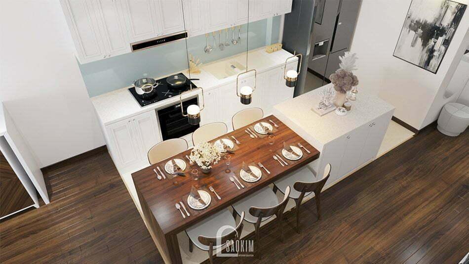 Không gian bếp rộng thoáng, sạch sẽ nhờ cách sắp xếp nội thất khoa học, thông minh