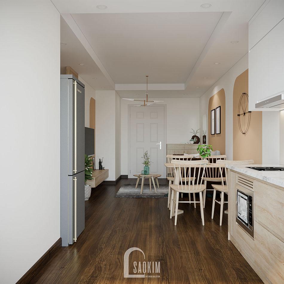 Cải tạo nhà chung cư cũ khu đô thị Linh Đàm với phòng ăn và bếp đơn giản, tiện nghi