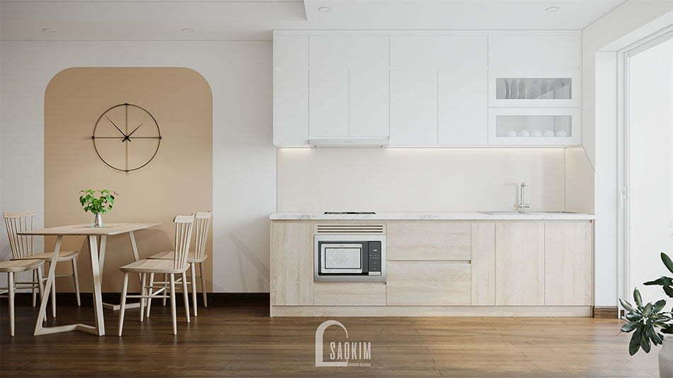 Không gian phòng ăn và bếp sạch sẽ, thoáng mát