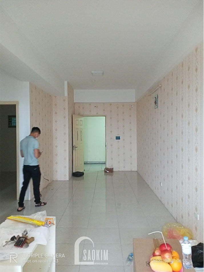 Không gian sinh hoạt chung của căn hộ chung cư khu đô thị Linh Đàm khi chưa cải tạo