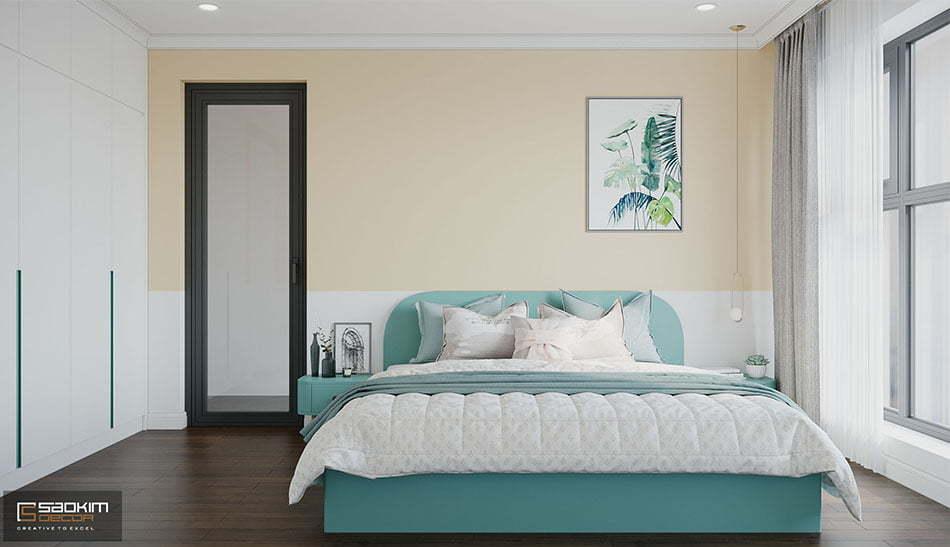 Thiết kế phòng ngủ Master với gam màu tươi sáng, trẻ trung