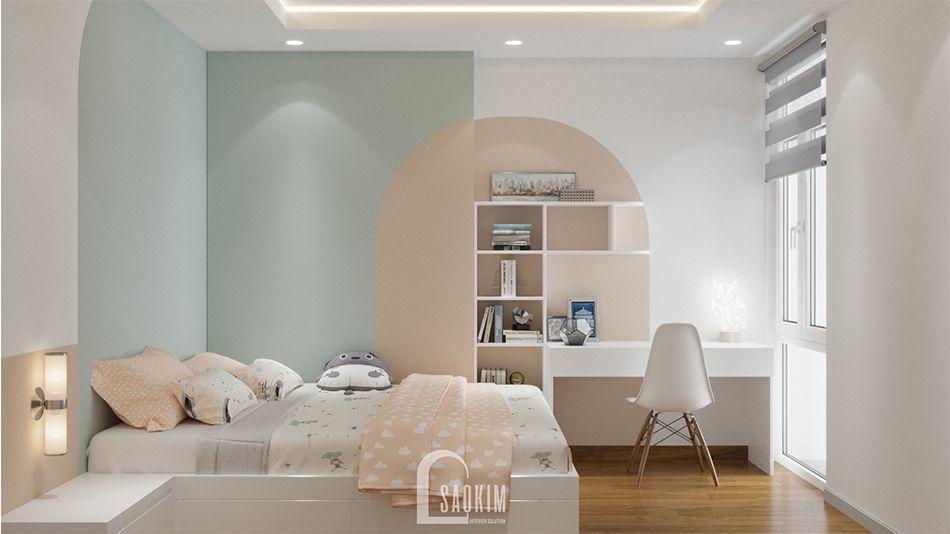 Không gian phòng ngủ nhã nhặn, thư giãn với gam màu pastel ngọt ngào