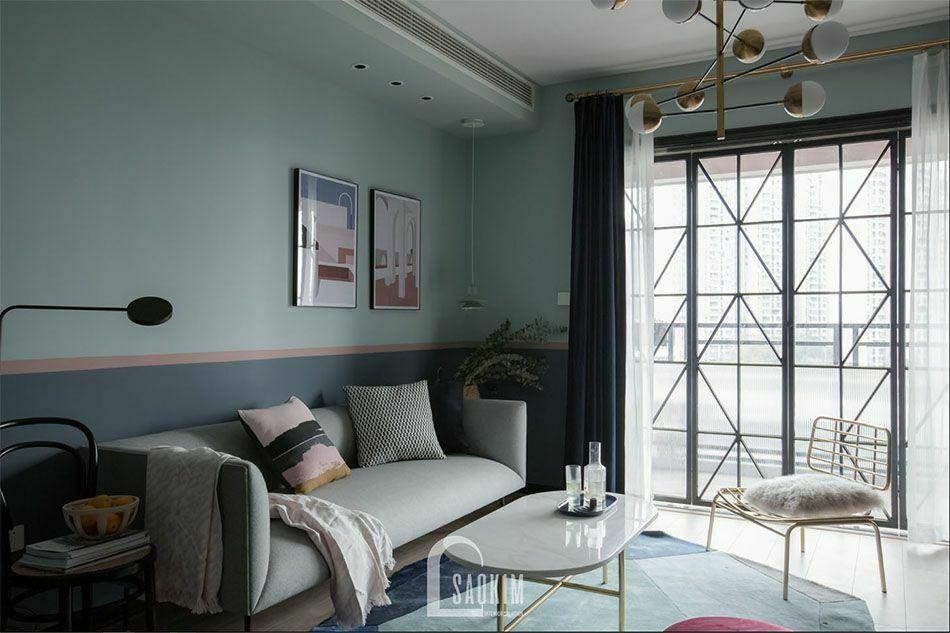 Thiết kế thi công nội thất phòng khách mang đậm phong cách Color Block