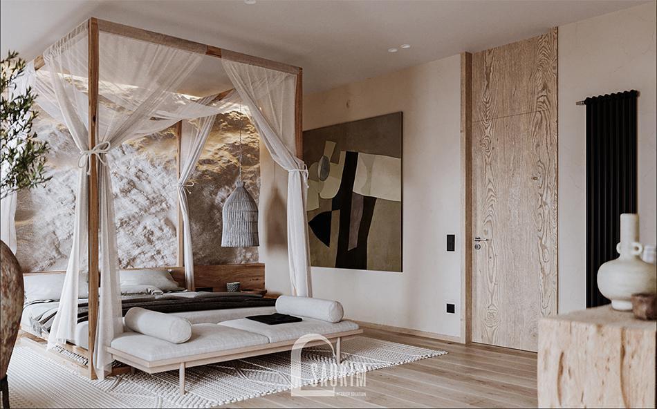 Mẫu thiết kế nội thất phòng ngủ Master phong cách Wabi Sabi