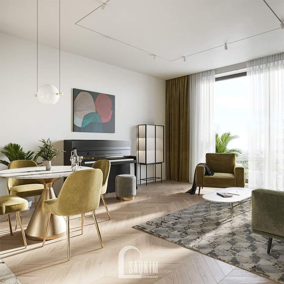 Không gian phòng khách rộng thoáng, tươi mới