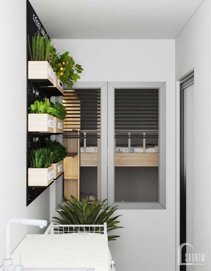 Thiết kế không gian logia chung cư Vinhomes Ocean Park 63m2 phong cách minimalism