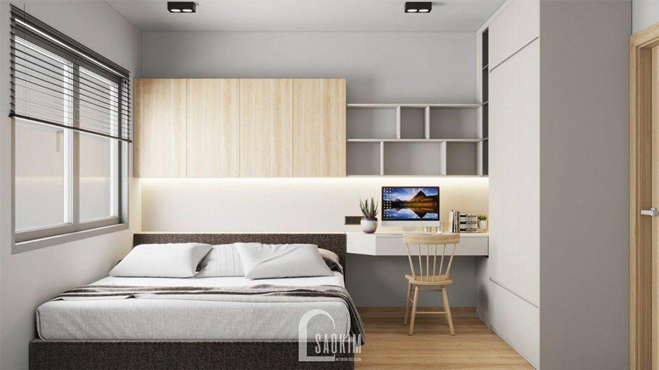 Thiết kế phòng ngủ chung cư Vinhomes Ocean Park 63m2 phong cách minimalism