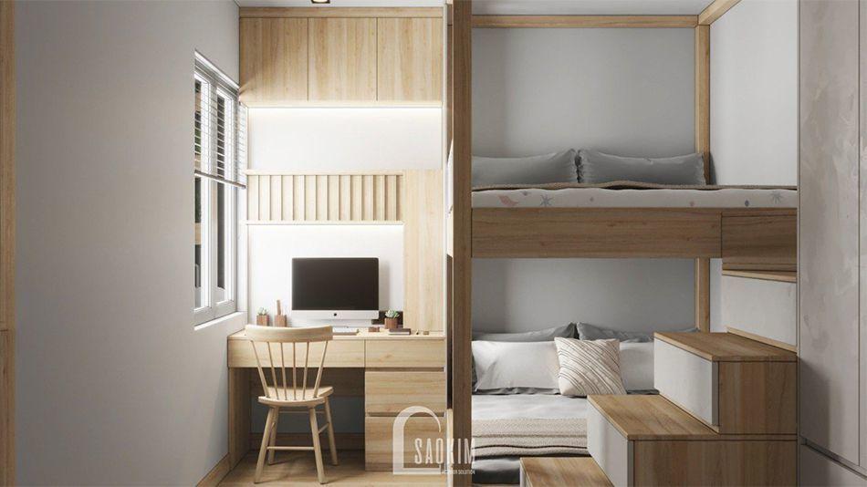 Thiết kế phòng ngủ cho bé chung cư Vinhomes Ocean Park 63m2 phong cách minimalism