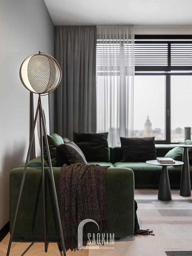 Hình ảnh phòng khách trong mẫu thiết kế chung cư 2 phòng ngủ 113m2 Yên Hoà Sunshine