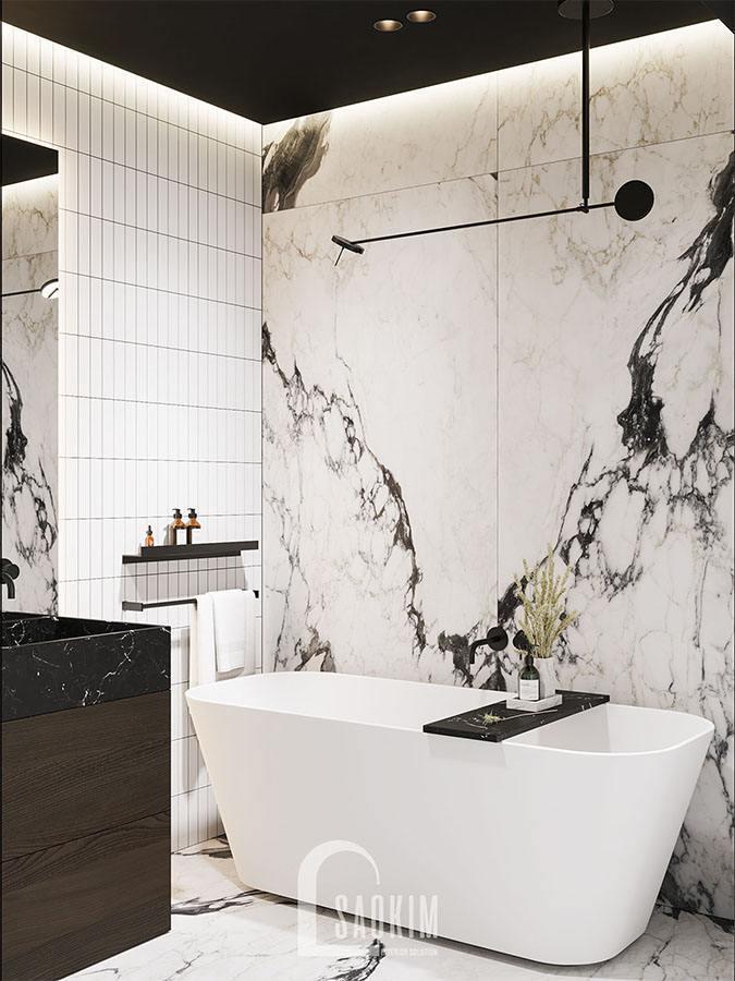 Không gian phòng tắm trong mẫu thiết kế chung cư 2 phòng ngủ 113m2 Yên Hoà Sunshine
