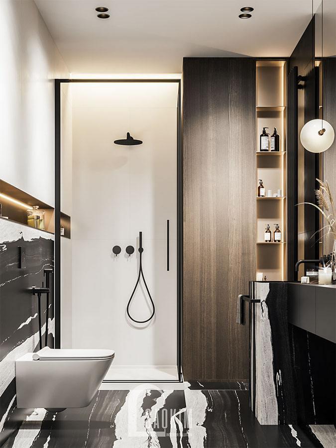 Mẫu thiết kế phòng tắm trong chung cư 2 phòng ngủ 113m2 Yên Hoà Sunshine