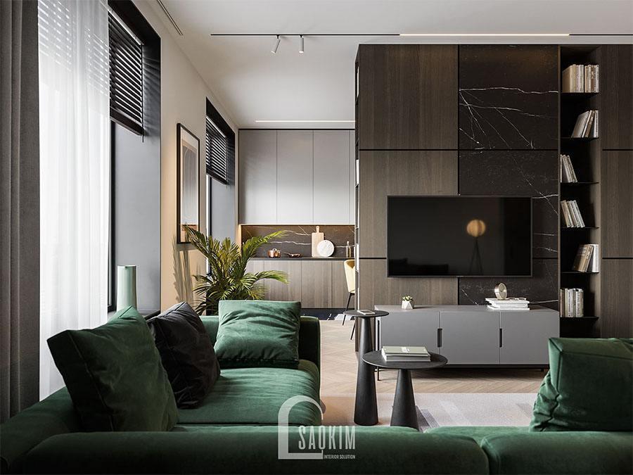 Mẫu thiết kế nội thất phòng khách chung cư 2 phòng ngủ 113m2 Yên Hoà Sunshine