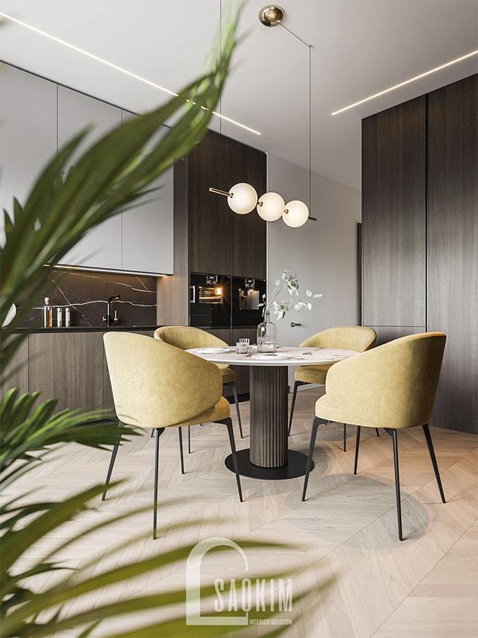 Không gian phòng ăn và bếp hiện đại tiện nghi