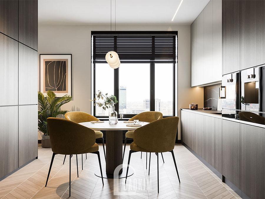 Mẫu phòng ăn và bếp trong thiết kế chung cư 2 phòng ngủ 113m2 Yên Hoà Sunshine