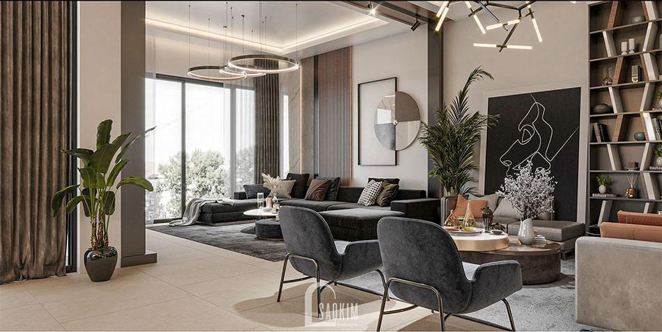 Thiết kế phòng khách nhà biệt thự 2 tầng đẹp 120m2 tại Thái Bình