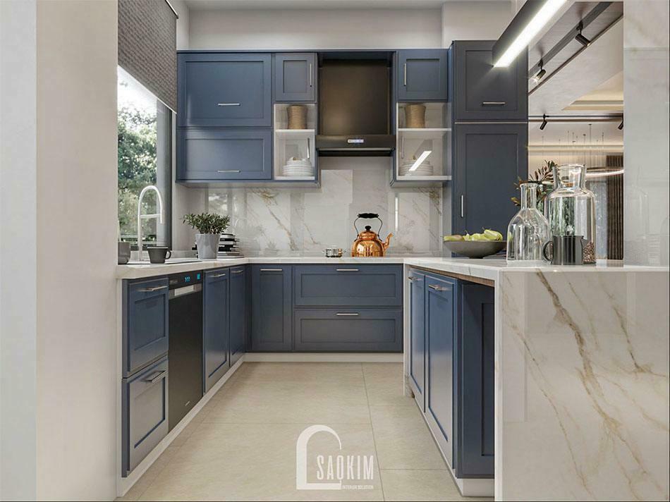 Căn bếp thoáng mát, sạch sẽ với nội thất tối giản, thông minh
