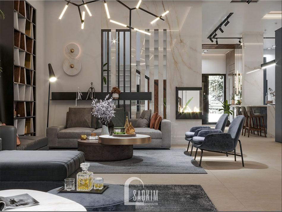 Mẫu thiết kế nội thất phòng khách biệt thự 120m2 Thái Bình