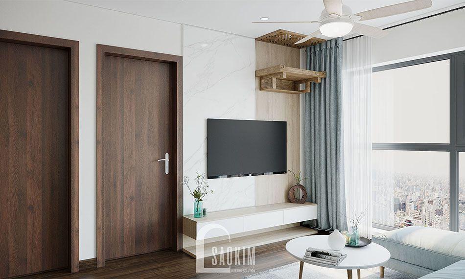 Phòng khách căn hộ 80m2 Eco Home mang vẻ đẹp phóng khoáng, tươi mới