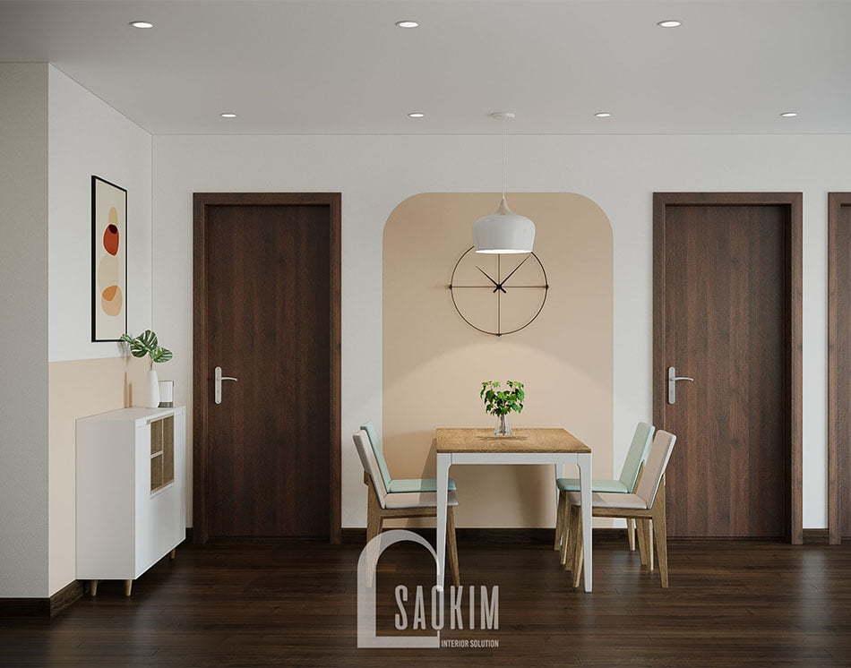 Không gian phòng ăn và bếp mang đậm phong cách thiết kế Color Block kết hợp tối giản không gian