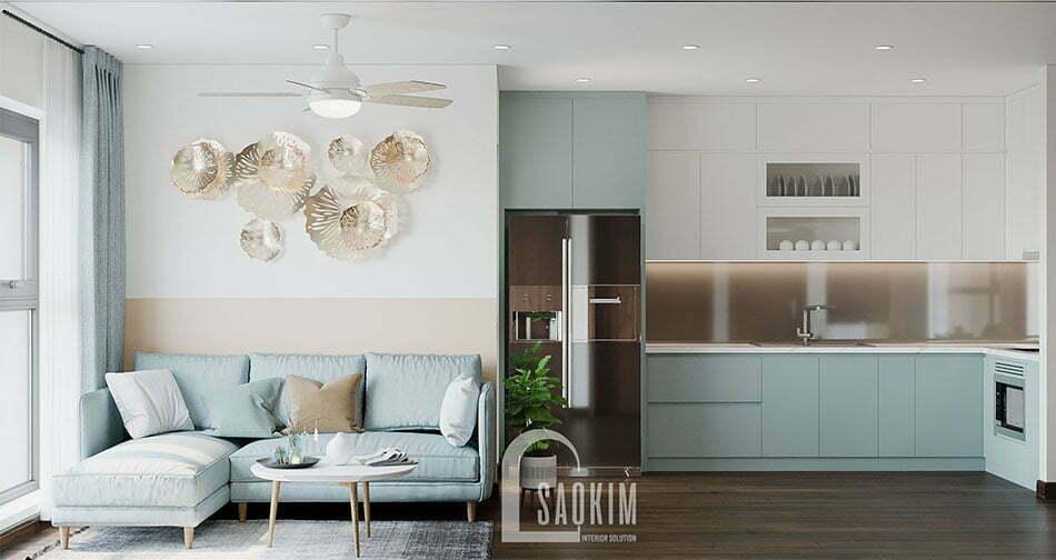 Không gian phòng khách căn hộ 80m2 Eco Home 3 đẹp với phong cách thiết kế Color Block