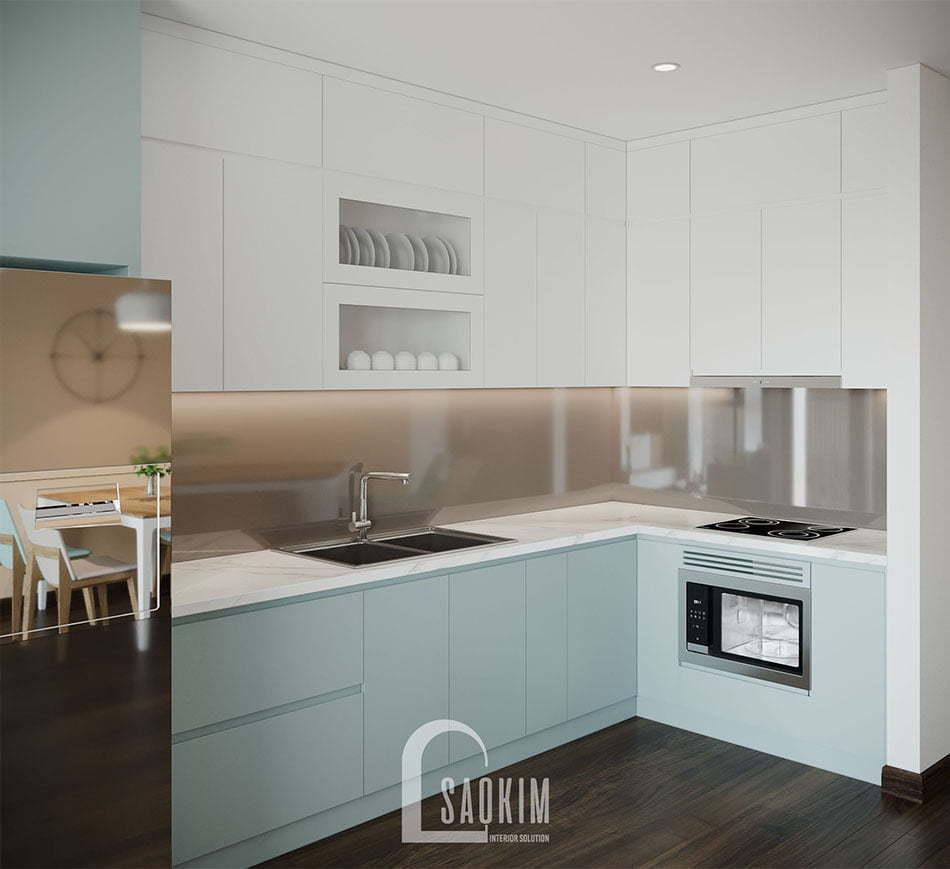 Căn bếp gọn gàng, sạch sẽ với nội thất hiện đại, cao cấp