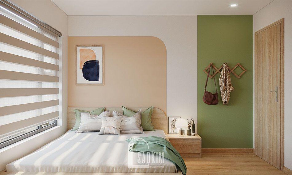 <em>Mẫu phòng ngủ Master căn hộ Vinhomes Smart City đẹp với phong cách thiết kế Color Block</em>