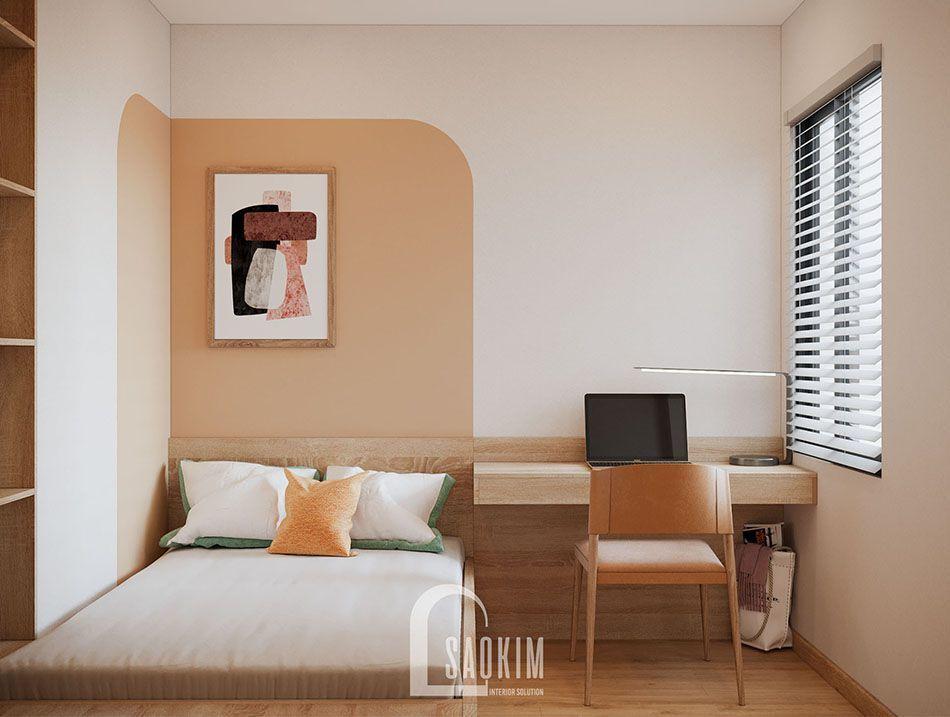 Mẫu phòng ngủ 2 căn hộ Vinhomes Smart City đẹp với phong cách thiết kế Color Block
