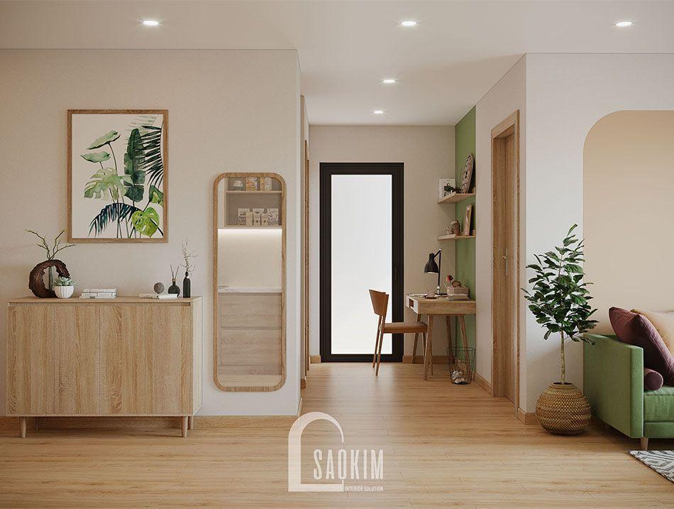 Không gian phòng làm việc căn hộ Vinhomes Smart City đẹp với phong cách thiết kế Color Block