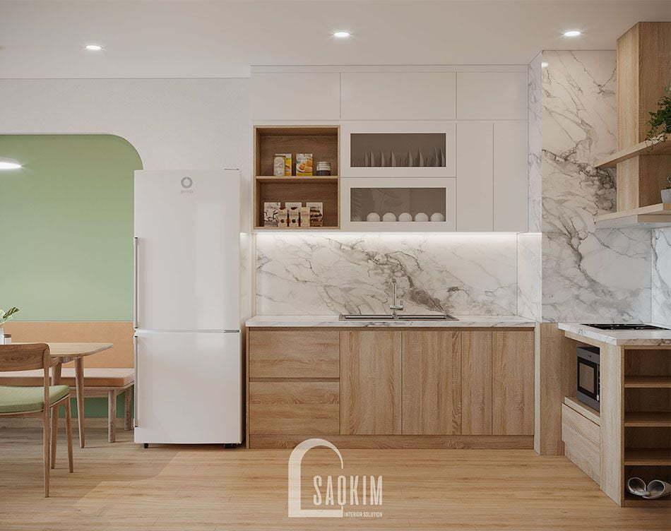 Không gian phòng bếp thoáng mát, sạch sẽ