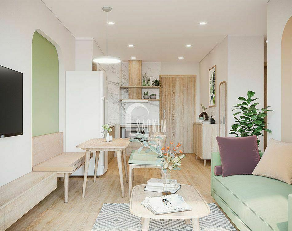 Không gian phòng ăn căn hộ Vinhomes Smart City đẹp với phong cách thiết kế Color Block