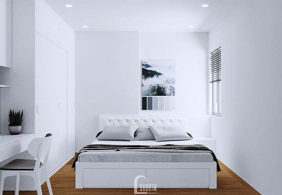 Mẫu thiết kế phòng ngủ 1 căn hộ nhỏ 60m2 chung cư HH02 khu đô thị Dương Nội