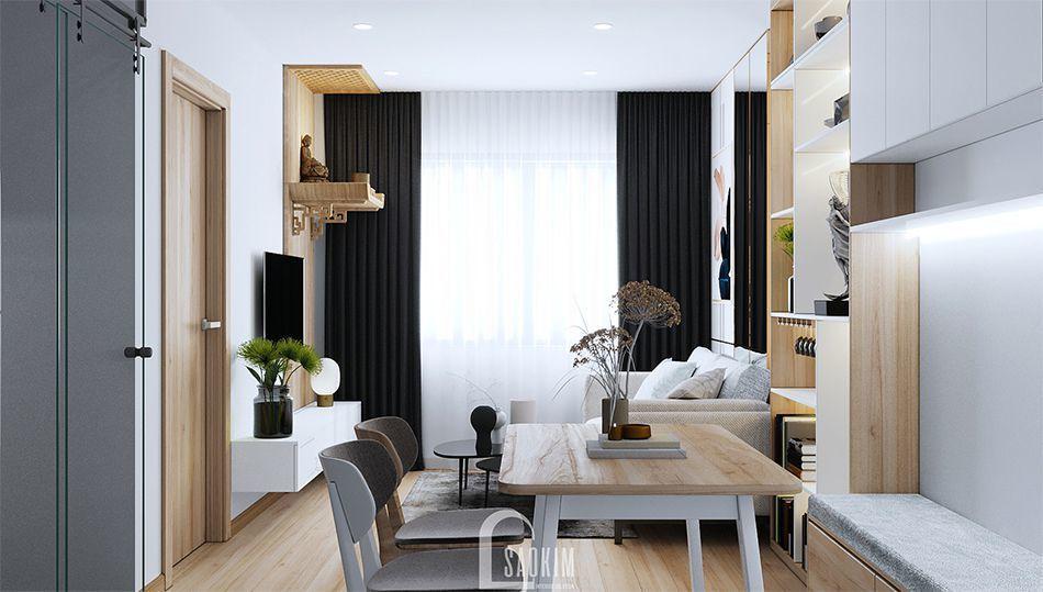 Mẫu thiết kế phòng ăn căn hộ nhỏ 60m2 chung cư HH02 khu đô thị Dương Nội