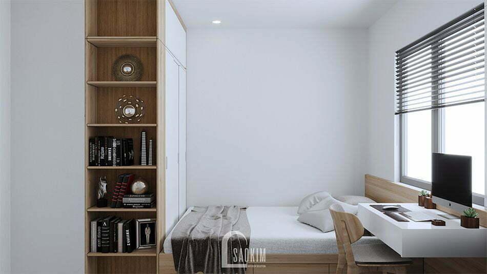 Mẫu thiết kế phòng ngủ 2 căn hộ nhỏ 60m2 chung cư HH02 khu đô thị Dương Nội