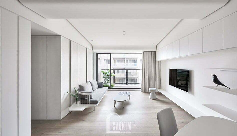 Mẫu thiết kế phòng khách chung cư Vinhomes Green Bay 45m2 phong cách tối giản