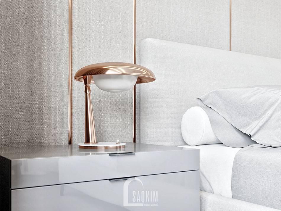 Phòng ngủ tối giản trang nhã với tông màu trắng, ghi