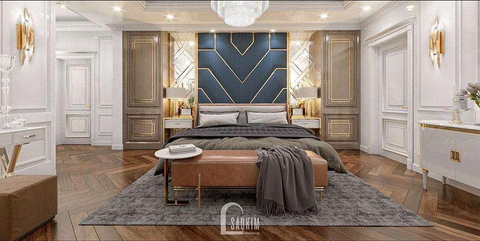 Không gian phòng ngủ trong mẫu thiết kế biệt thự 2 tầng 240m2