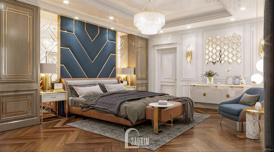 Mẫu thiết kế nội thất phòng ngủ biệt thự 2 tầng 240m2