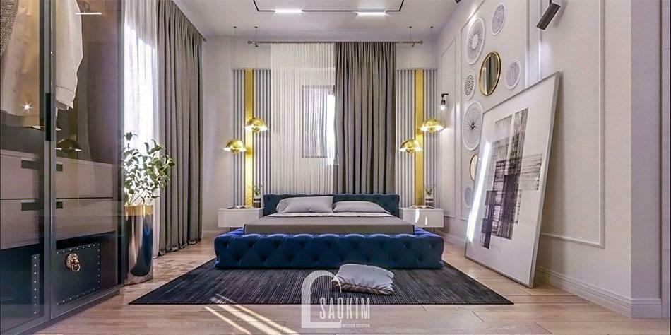 Mẫu thiết kế nội thất không gian phòng ngủ 2 biệt thự 240m2 ở Hải Phòng