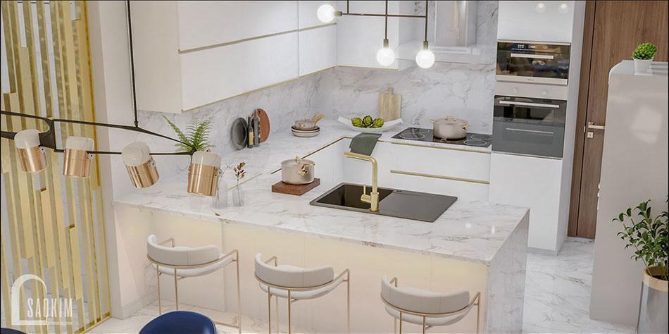 Mẫu thiết kế nội thất phòng bếp biệt thự 2 tầng đẹp 240m2 ở Hải Phòng