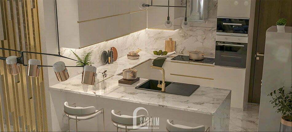 Không gian phòng bếp sạch sẽ, thoáng mát