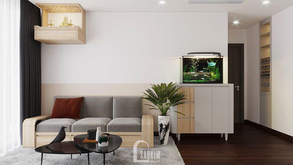 Mẫu thiết kế phòng khách phong cách tối giản căn hộ chung cư Vinhomes West Point