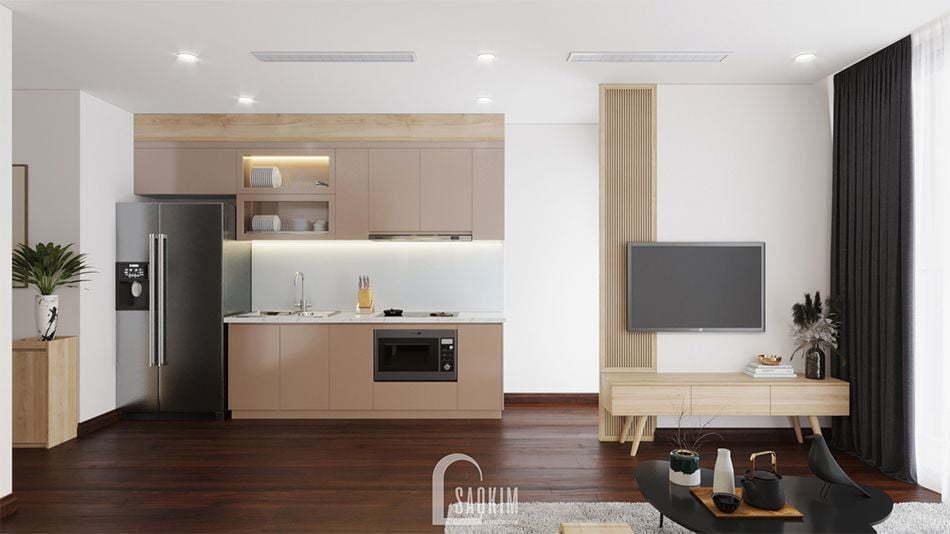 Mẫu thiết kế phòng bếp phong cách tối giản căn hộ chung cư Vinhomes West Point