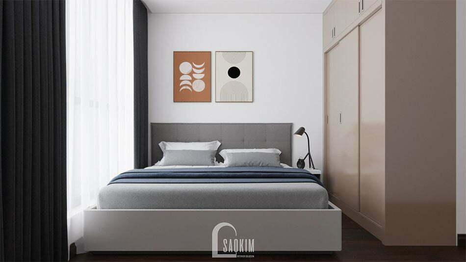 Mẫu thiết kế phòng ngủ phong cách tối giản căn hộ chung cư Vinhomes West Point