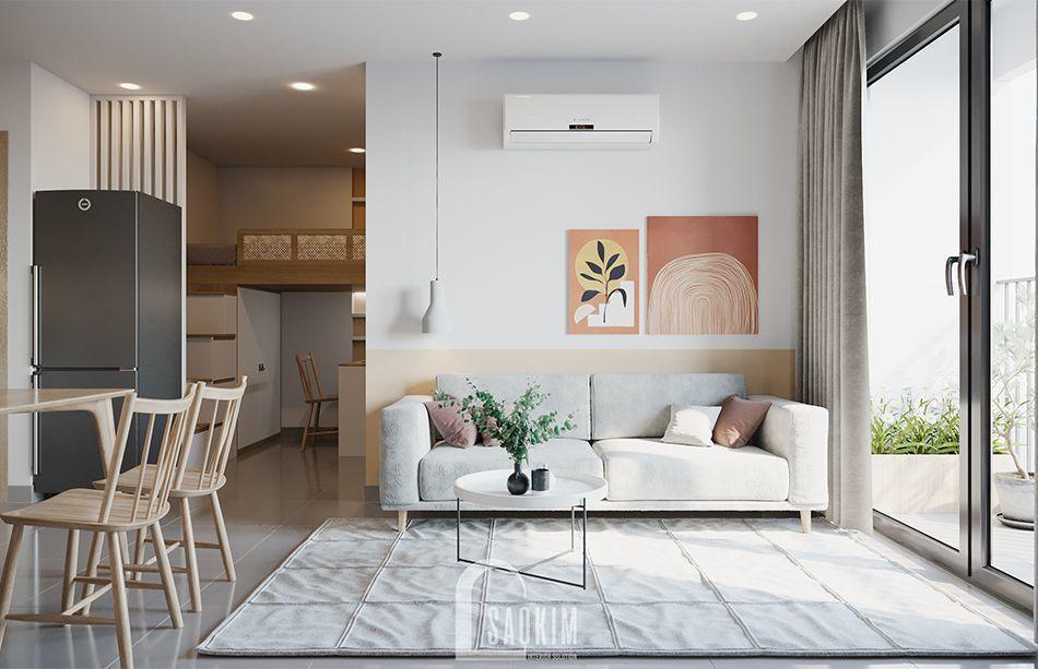 Mẫu thiết kế phòng khách căn hộ 1 phòng ngủ + 1 chung cư Vinhomes Smart City