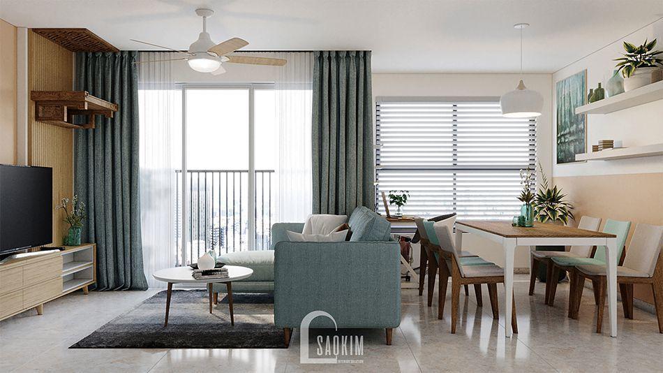 Thiết kế không gian mở căn hộ 2 phòng ngủ chung cư Vinhomes Smart City