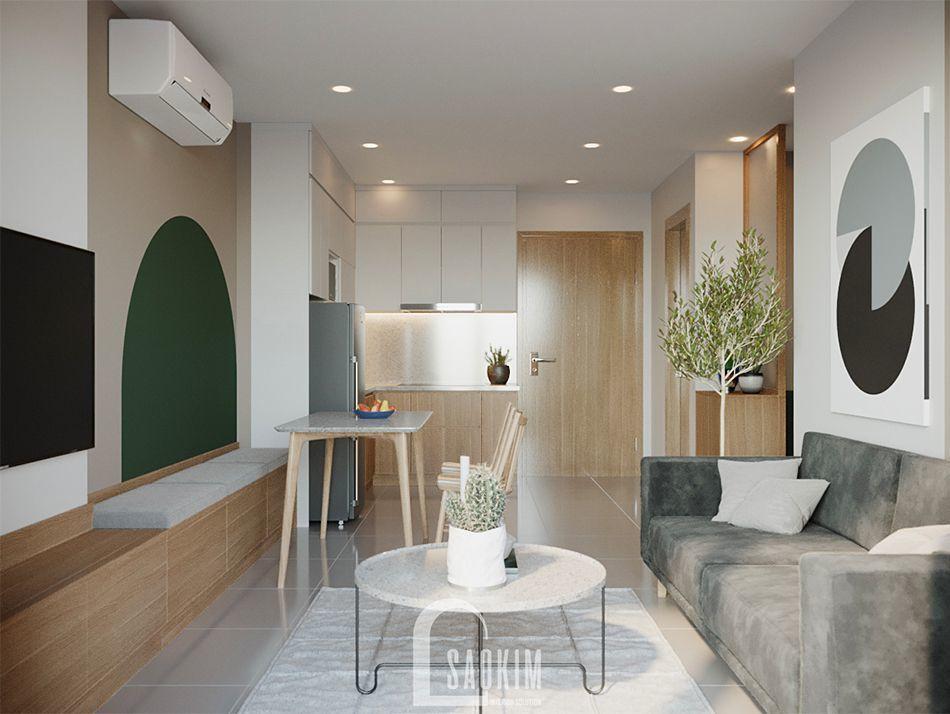 Không gian mở căn hộ Vinhomes Ocean Park mang phong cách Color Block